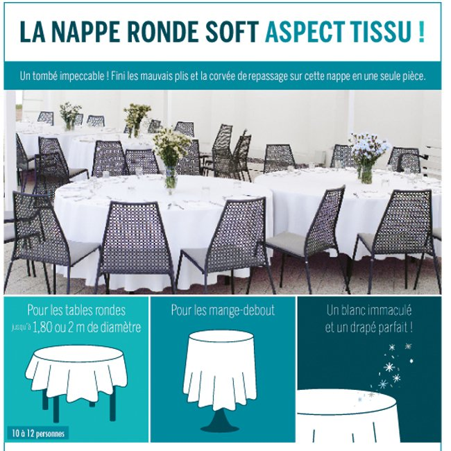 Nappe ronde jetable aspect tissu - THOUY
