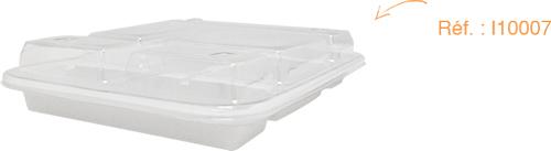 Couvercle transparent I10007 pour plateau-repas en plastique rigide blanc I10006