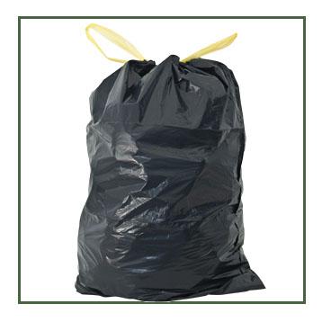 Sac poubelle 30 litres noir avec liens coulissants