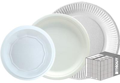 Assiettes en carton et en plastique - offre au carton