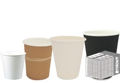 Gobelets jetables en carton et fibres de canne - offre au carton