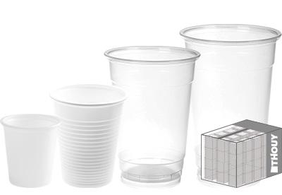 Gobelets jetables en plastique - offre au carton