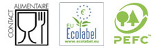 certification EU-Ecolabel, PEFC et conforme à la norme contact alimentaire