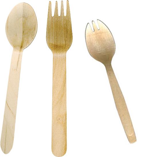 Couverts en bois : fourchette, couteau, cuillère et spork