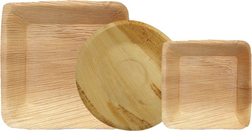 Assiettes rondes et carrées en palmier