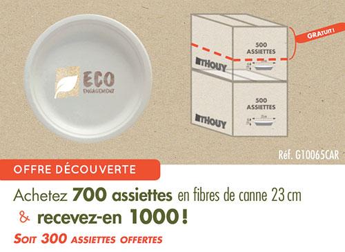 Offre au carton : 1000 assiettes 23 cm en fibres de canne à sucre
