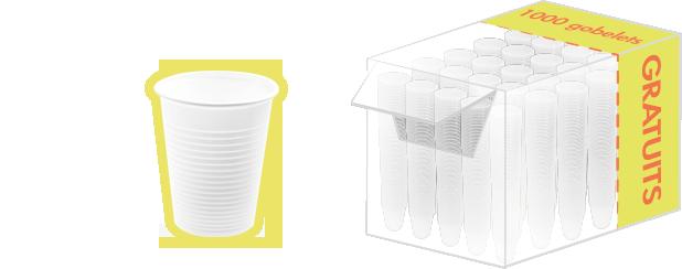 Offre au carton : 3000 gobelets en plastique blanc 20 cL