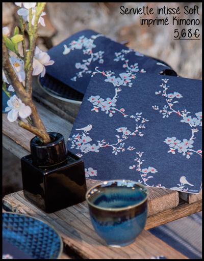 Serviette en intissé soft décor kimono 40 x 40 cm Françoise Paviot F20072KIM