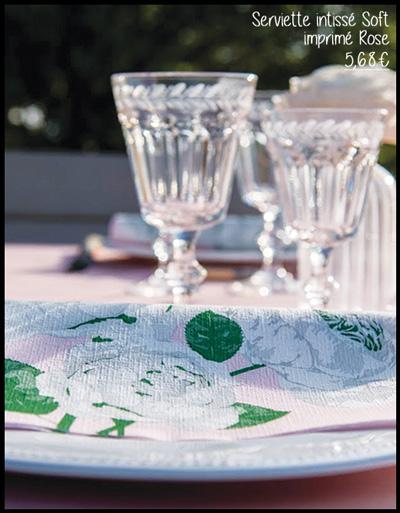 Serviette en intissé soft décor rose 40 x 40 cm Françoise Paviot F20072ROS