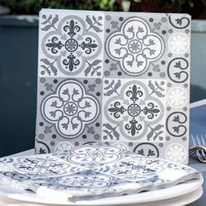 Serviette en intissé soft décor carreaux gris 40 x 40 cm Françoise Paviot F20072CAR