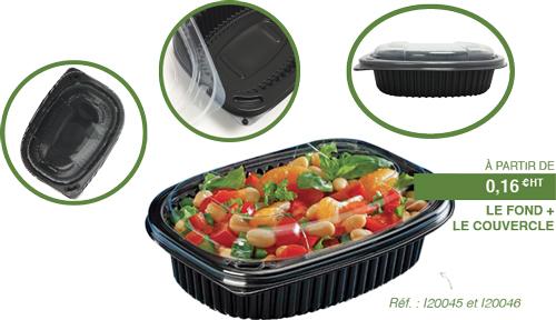 Boîte noire Cookipack et couvercle attenant 600 mL et 800 ml I20045 et I20047