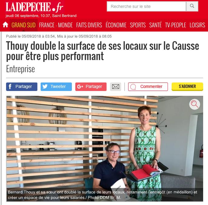 Thouy - Article La Depeche 2018