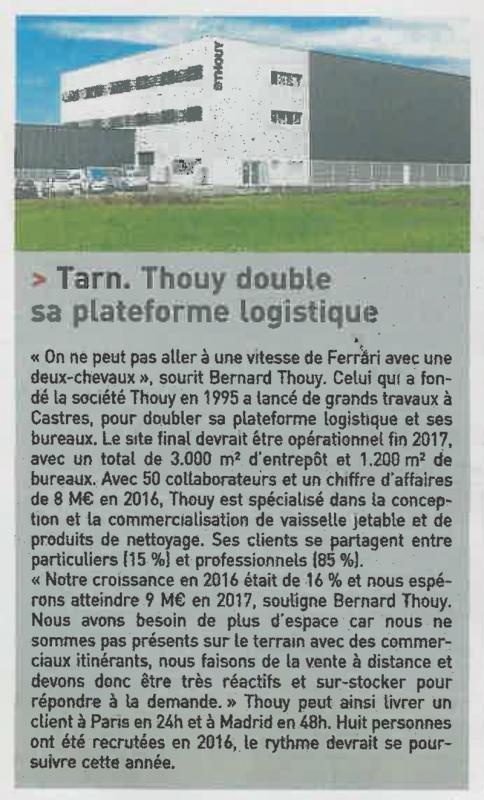Article Thouy dans le journal des entreprises de juillet 2017